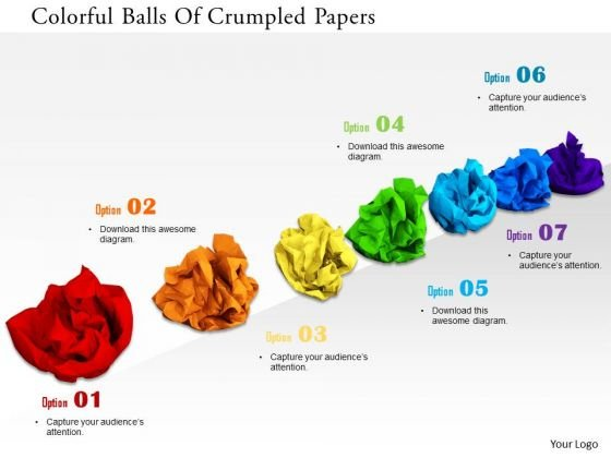 Stock Photo Colorful Balls Of Crumpled Papers PowerPoint Slide