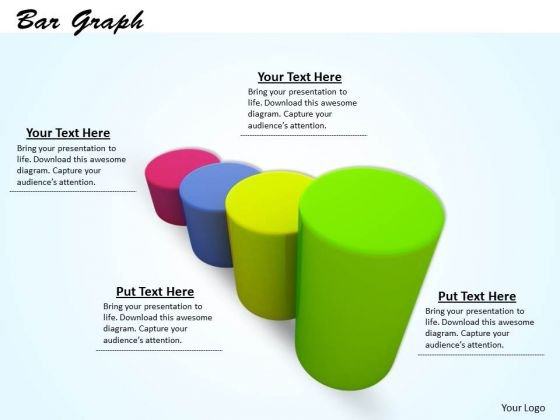 Stock Photo Colorful Bar Graph For Business Result Display PowerPoint Slide