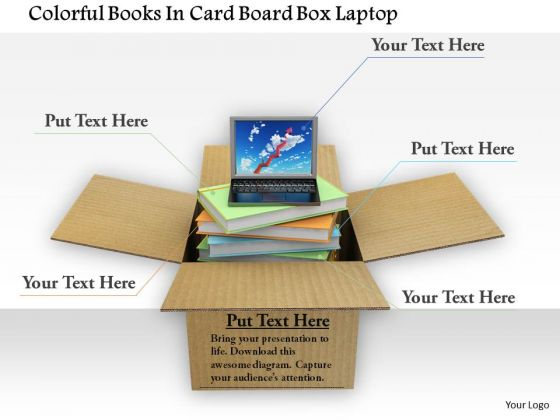 Stock Photo Colorful Books In Card Board Box Laptop PowerPoint Slide