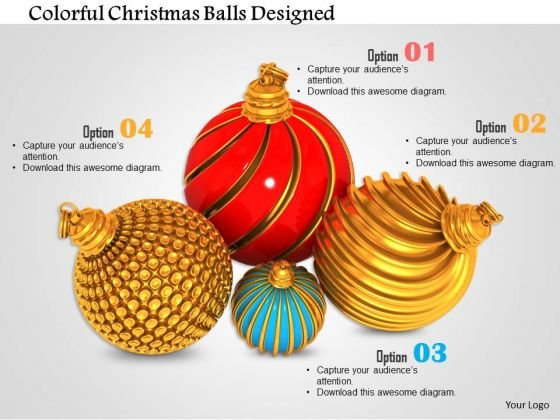 Stock Photo Colorful Christmas Balls Designed PowerPoint Slide