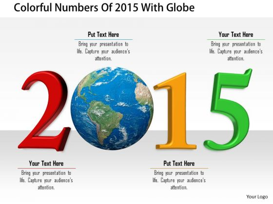 Stock Photo Colorful Numbers Of 2015 With Globe PowerPoint Slide