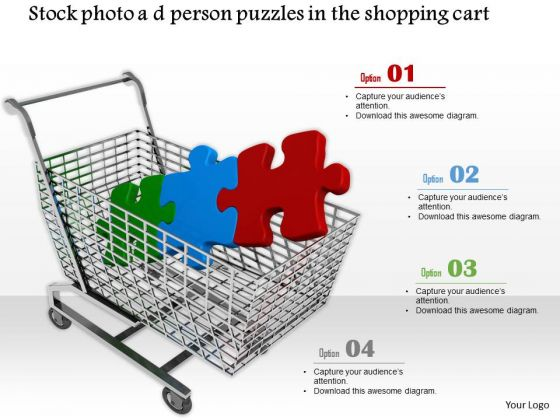 Stock Photo Colorful Puzzle Pieces In Shopping Cart PowerPoint Slide