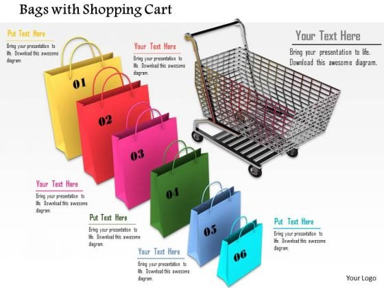 Stock Photo Colorful Shopping Bags With Cart PowerPoint Slide