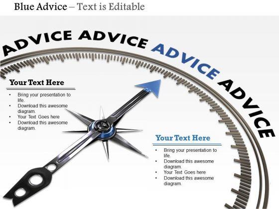 Stock Photo Compass Arrow On Blue Advice Word PowerPoint Slide