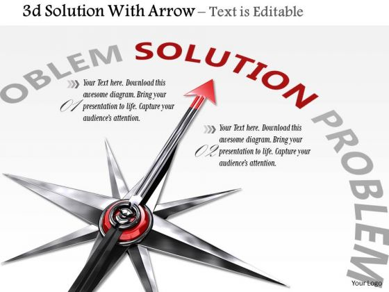 Stock Photo Compass Arrow Pointing At Solution PowerPoint Slide