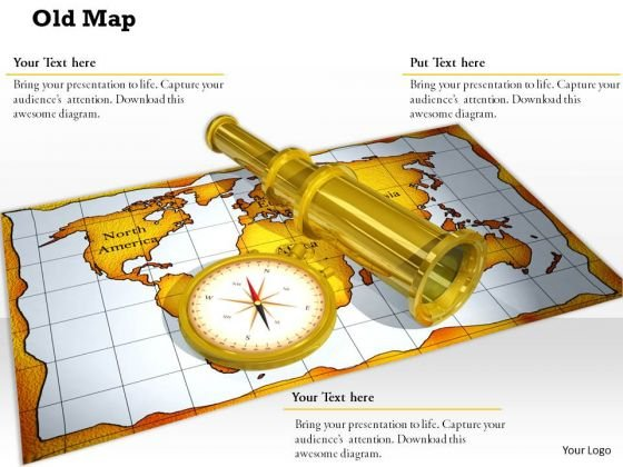 Stock Photo Compass Binocular On Map For Sailing PowerPoint Slide