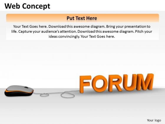 Stock Photo Computer Mouse Connected To Word Forum PowerPoint Slide