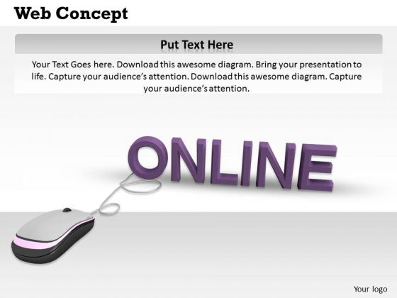 Stock Photo Computer Mouse Connected To Word Online PowerPoint Slide