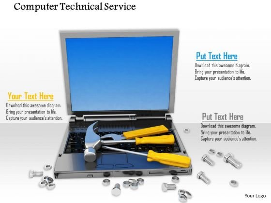 Stock Photo Computer Service Tools Laptop Technical Repair Bolts PowerPoint Slide