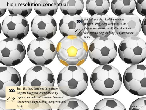 Stock Photo Conceptual Black Soccer Balls With One Yellow Ball PowerPoint Slide
