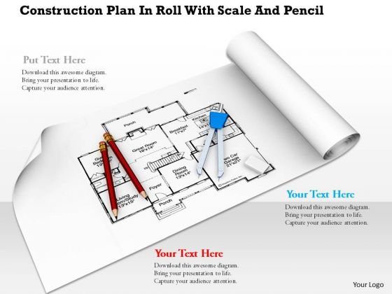 Stock Photo Construction Plan With Drawing Tools PowerPoint Slide