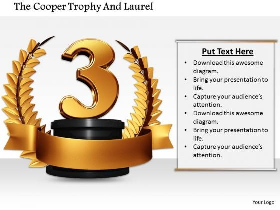 Stock Photo Copper Laurel Trophy For 3rd Position Pwerpoint Slide