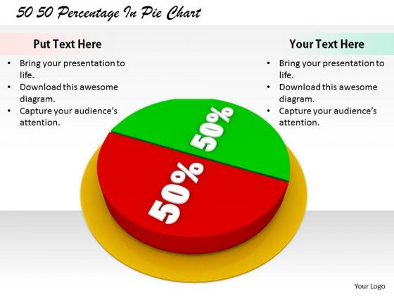 Stock Photo Corporate Business Strategy 50 Percentage Pie Chart Images