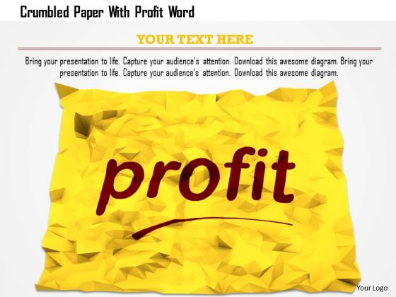 Stock Photo Crumbled Paper With Profit Word PowerPoint Slide