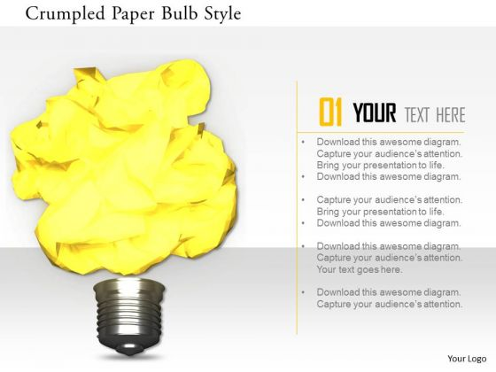 Stock Photo Crumpled Paper Bulb Style PowerPoint Slide
