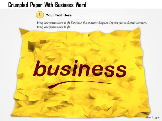 Stock Photo Crumpled Paper With Business Word PowerPoint Slide
