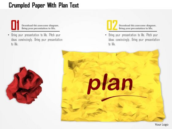 Stock Photo Crumpled Paper With Plan Text PowerPoint Slide