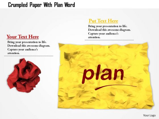 Stock Photo Crumpled Paper With Plan Word PowerPoint Slide