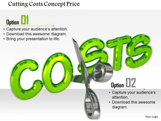 Stock Photo Cutting Costs Concept Price PowerPoint Slide