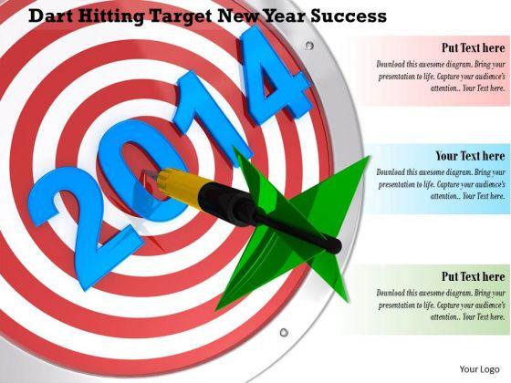 Stock Photo Dart Hitting Target New Year Success PowerPoint Slide