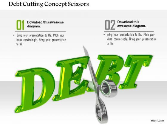 Stock Photo Debt Cutting Concept Scissors PowerPoint Slide