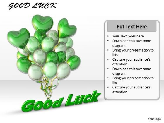 Stock Photo Design Of Balloons With Good Luck Text PowerPoint Slide