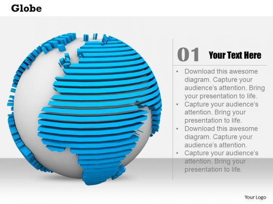 Stock Photo Design Of Blue And White Globe PowerPoint Slide