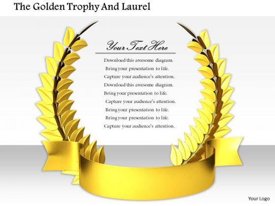 Stock Photo Design Of Golden Wreath Award Pwerpoint Slide