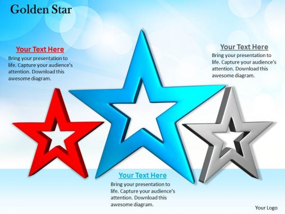 Stock Photo Design Of Red Blue Silver Stars PowerPoint Slide