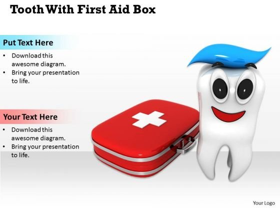Stock Photo Design Of Tooth With First Aid Box Pwerpoint Slide