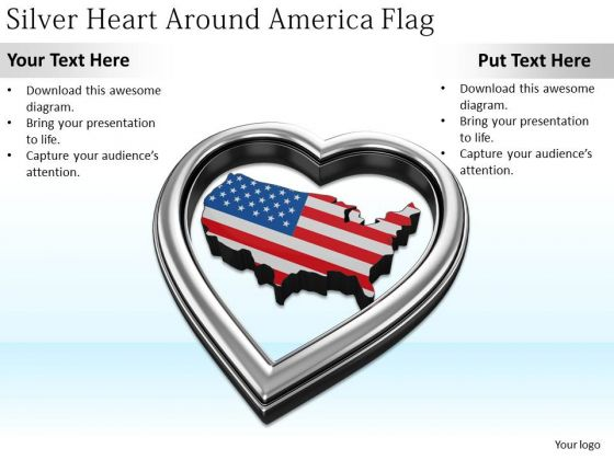 Stock Photo Developing Business Strategy Silver Heart Around America Flag Photos