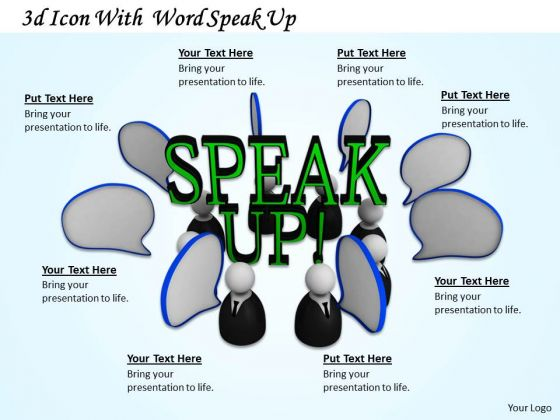 Stock Photo Dialog Bubbles With Speak Up Text PowerPoint Slide
