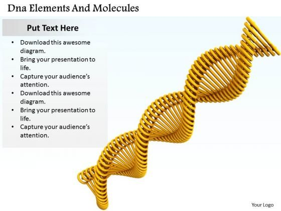 Stock Photo Dna Elements And Molecules Ppt Template