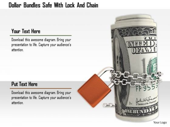 Stock Photo Dollar Bundles Safe With Lock And Chain Image Graphics For PowerPoint Slide