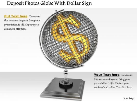 Stock Photo Dollar Symbol In Globe Over Stand PowerPoint Slide