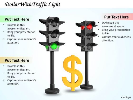 Stock Photo Dollar With Traffic Light PowerPoint Template