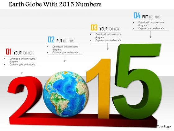 Stock Photo Earth Globe With 2015 Numbers PowerPoint Slide