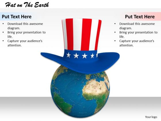 Stock Photo Earth Globe With American Hat PowerPoint Slide