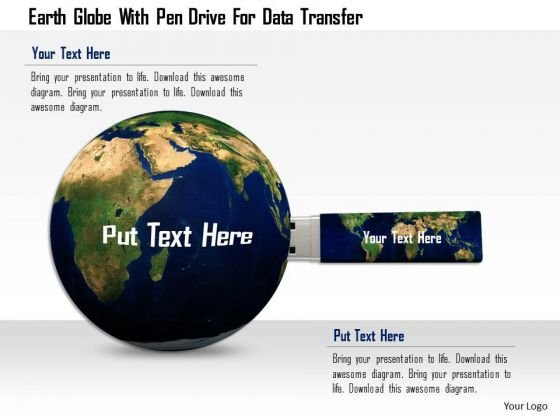 Stock Photo Earth Globe With Pen Drive For Data Transfer PowerPoint Slide