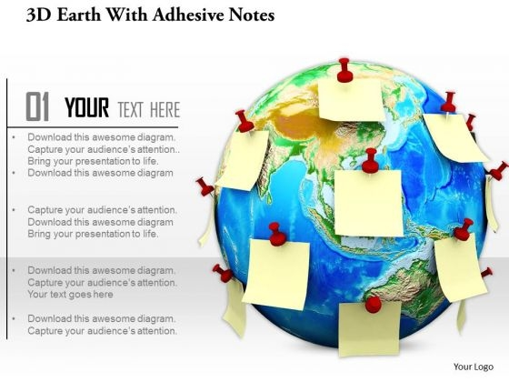 Stock Photo Earth Globe With Various Sticky Notes PowerPoint Slide