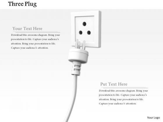 Stock Photo Electricity Plug In White Socket Pwerpoint Slide