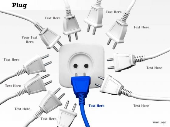 Stock Photo Electricity Plugs With Socket PowerPoint Slide