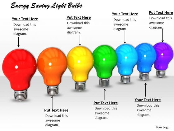 Stock Photo Energy Saving Light Bulbs PowerPoint Template