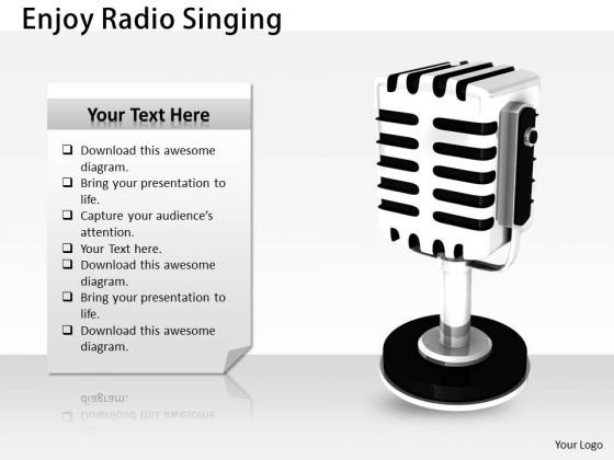 Stock Photo Enjoy Radio Singing PowerPoint Template - PowerPoint