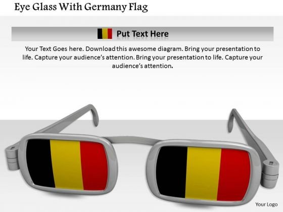 Stock Photo Eye Glass With Germany Flag PowerPoint Slide