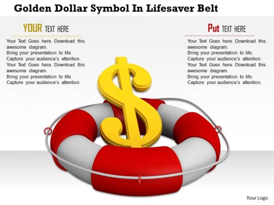 Stock Photo Financial Crisis Concept Dollar Symbol In Lifesaver Belt PowerPoint Slide