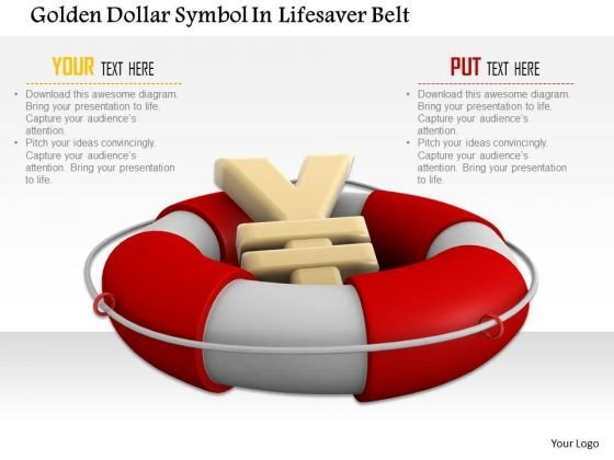 Stock Photo Financial Crisis Concept Yen Symbol In Lifesaver PowerPoint Slide