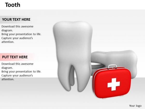 Stock Photo First Aid Kit With Teeth Pwerpoint Slide