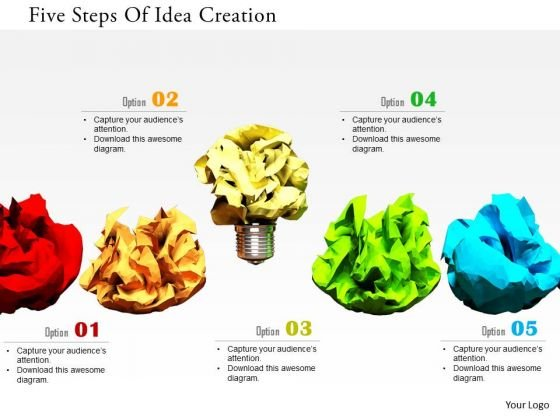 Stock Photo Five Steps Of Idea Creation PowerPoint Slide