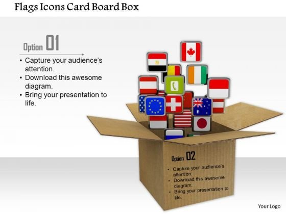 Stock Photo Flags Icons Card Board Box PowerPoint Slide